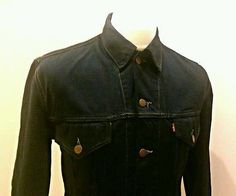 Levis Denim Trucker Jacket Black Rock'n'Roll Skinny Fit Urban Outfitters Size L