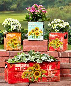 Set of 4 Sunflower Planters, Yard, Garden Decor. Outdoor Living, Planters. #Unbranded