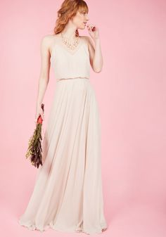 The Essence of Enchantment Maxi Dress in Taupe. The embodiment of pure sophistication, you take center stage in this taupe gown by Jenny Yoo, leaving everyone around completely spellbound. #cream #prom #wedding #bride #modcloth
