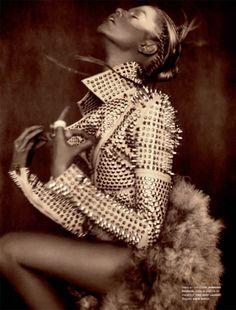 Hailey Clauson by Sebastian Kim for Numero #124. Burberry Prorsum coat...