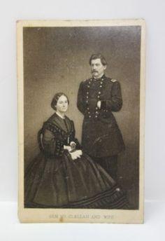 Antique-19c-Civil-War-Union-General-McClellan-and-Wife-CDV-Carte-De-Visite