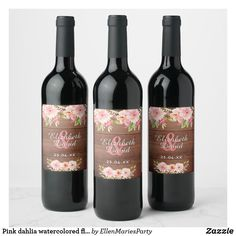 Shop Pink dahlia watercolored flowers rustic wedding wine label created by EllenMariesParty. Country Style Wedding, Rustic Wedding, Wedding Wine Labels, Wine Bottle Labels, Save The Date Cards, Wedding Trends, Dahlia, Party Supplies, Invitations