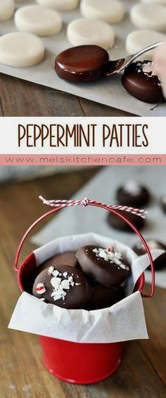 Homemade peppermint patties. Adorable, delicious, and so…
