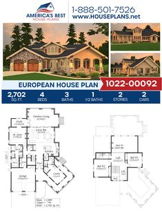 Full of European architectural charm, Plan 1022-00092 delivers 2,702 sq. ft., 4 bedrooms, 3.5 bathrooms, a guest room, an open floor plan, a wrap around porch, a library, a loft, and a study. #europeanhome #twostoryhome #openfloorplan #europeanstyle #architecture #houseplans #housedesign #homedesign #homedesigns #architecturalplans #newconstruction #floorplans #dreamhome #dreamhouseplans #abhouseplans #besthouseplans #homesweethome #buildingahome #buildahome #residentialplans… Floor Plans 2 Story, Small Floor Plans, Modern Floor Plans, Farmhouse Floor Plans, Small House Plans, European Plan, European House Plans, Best House Plans, Dream House Plans