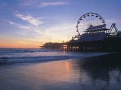 Pier Sunset, Santa Monica, CA Photographic Print by Mark Gibson at AllPosters.com