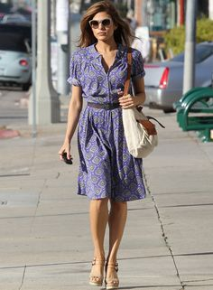 Eva Mendes´s patterned midi dress