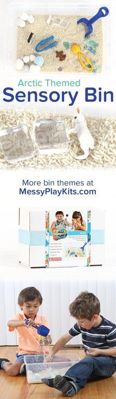 Arctic Sensory Bin with white rice, snow themed toys & fine motor tools. Winter toys / Learning Toys / Activity Toys / Kids Educational Toys / Activity Kit for Kids / Sensory Bin Ideas / Sensory Play for Kids #messyplaykits #sensorybin #activitykit