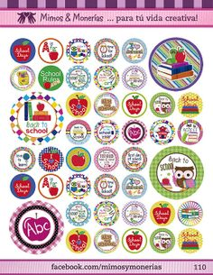 """Back to School Bottle Cap Images - 8.5"""" x 11"""" Digital Collage Sheet - 1"""" Circles for Hair Bows"""