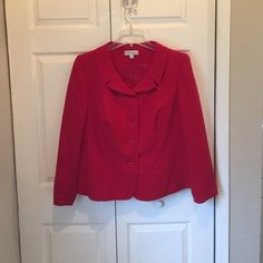 BEAUTIFUL RUBY RED 2PC SUIT JACKET AND LONG SKIRT Red jacket has padded shoulders and red buttons. Each cuff has a small slit. It has a rounded neckline. And the skirt has 1/2 elastic waist with a zipper and has a 1/2 slit up the back. Great condition fully lined Dress Barn Skirts Skirt Sets
