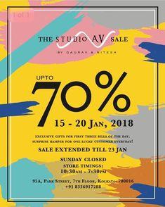 @studioav_by_gauravnnitesh sale extended till 23January2018 #studioavbygauravnnitesh #sale #extended #tuesday #23january #fashion #designerwear #droptoshop #upto70%