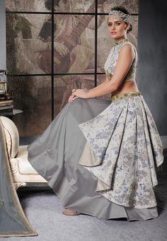Embroidered Art Silk Lehenga in Grey Lehnga Dress, Bridal Lehenga Choli, Silk Lehenga, Saree, Indian Wedding Gowns, Indian Gowns, Stylish Dress Designs, Stylish Dresses, Fashion Dresses