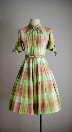 1950s WATERMELON PLAID cotton two piece dress