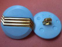 12 KNÖPFE hellblau gold 21mm (3245) Knopf blau