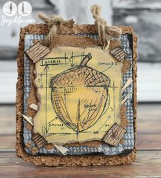Cork Acorn Fall Decor using Faber Castell Design Memory Craft Products & Tim Holtz Stamp #FaberCastell #TimHoltz