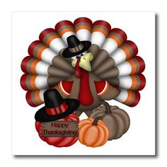 3dRose ht_216920_3 Cute Red Orange and Brown Turkey with Happy Thanksgiving Iron on Heat Transfer for White Material 10 x 10 *** Be sure to check out this awesome product.