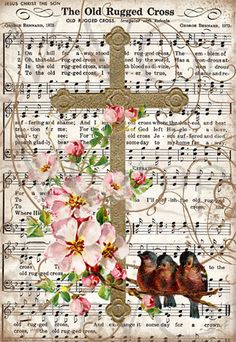 Old Rugged Cross Bird Flowers Christian Hymn Music Digital Download Image Vintage Gift Tag Collage Clipart Scan U Print Graphic vs0033