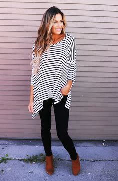 Ivory/Black Over-Sized Striped Dolman - Dottie Couture Boutique