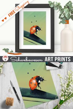 Spring Ladybug Art Print Digital Prints Boho Decor Botanical Nursery Print Pastel Colors Ladybird Art Print Light Green Wall Art Ladybug Illustration gardener gift garden decor cute insect greenery poster Insect Poster a3 print
