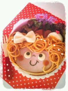 pasta girl bento- so silly! Bento Recipes, Baby Food Recipes, Cute Bento, Kawaii Bento, Bento Kids, Japanese Food Art, Childrens Meals, Food Decoration, Food Crafts