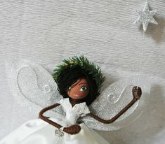 Fairy Tree Topper - Bailey -  guardian angel - OOAK art doll - Fairy decoration