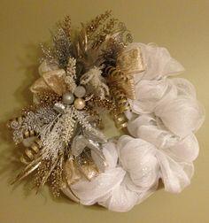 Winter Deco Mesh wreath in gold silver and white by ATotalMesh, $89.00