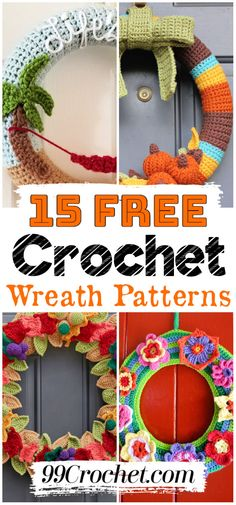 15 Free Crochet Wreath Patterns #freecrochetpattern #freecrochetpatterns #freepatterns #crochetpatterns #diy #gifts #crafts #diyhomedecor #diyprojects #diycrafts