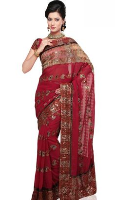 Buy Latest Fashionable Traditional Red Georgette Designer Saree online with different design and colors. For More Information at - Efello.com.my.