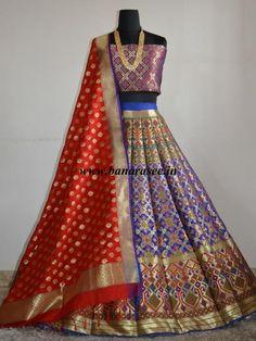 Banarasee/Banarasi Handwoven Art Silk Unstitched Lehenga Blouse & Dupatta Fabric With Meena Work-Deep Blue