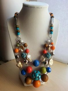 Multi colored silver boho statement necklace/bib by ILoveBeads247, $22.00