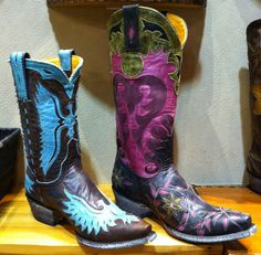 Two more @Old Gringo Boots new for Fall! We love the turquoise and pink leather inlays, so feminine. #boots #western