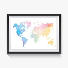 World Map World Map Poster Rainbow Map Rainbow Watercolor