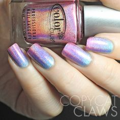 Copycat Claws: Color Club Holographic Gradient with Color Club Miss Bliss, Eternal Beauty and Over the Moon Source by Fancy Nails, Trendy Nails, Cute Nails, Hair And Nails, My Nails, Color Club Nail Polish, Purple Nails, Pink Purple, Purple Nail Polish