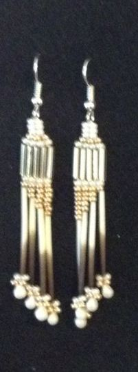 Handmade Dangle Quill earrings with silver and pearl seed & drop beads ~ sold