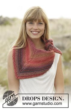 "By Sunset / DROPS Extra 0-1227 - Knitted DROPS shawl in garter st in ""Big Delight""."