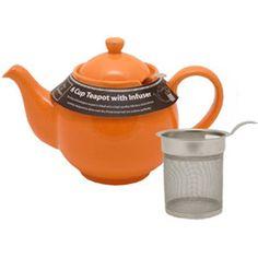 Six Cup Filter Teapot Orange by Pacific Merchants