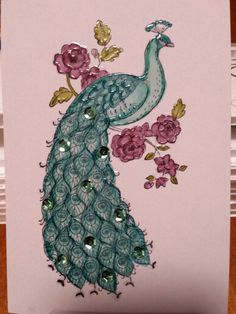 Peacock Drawing, Peacock Art, Perfect Peacock, Bee Cards, Stamping Up Cards, Peacocks, Creative Cards, Bird Feathers, Homemade Cards