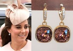 Kate Middleton Dark Rose Pink Gold Crystal Square Earrings