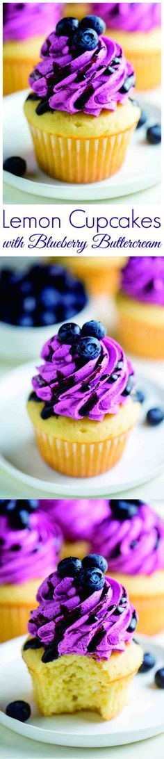 LEMON CUPCAKES WITH FRESH BLUEBERRY BUTTERCREAM - blueberry, buttercream, cupcake, dessert, lemon, recipes
