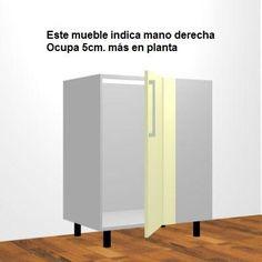 Mueble Bajo Fregadero, H-80cm, Rincón con Fijo 1-Puerta