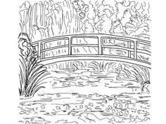 Japanese Garden Coloring Page How To Draw A Bridge Step By Step