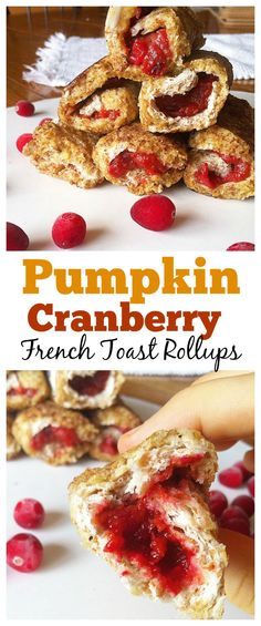 #healthy Pumpkin Cranberry French Toast Rollups are the perfect fall breakfast! #glutenfree
