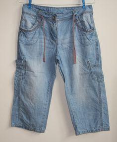 Womans Jeans George 3/4 Skay Blue Size Uk 8 , Eu 38 Fashion Designer Art Butons