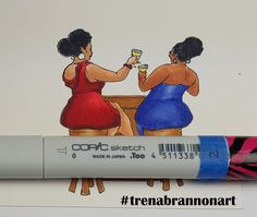 Day15 #thedailymarker30day. #copiccoloring by #trenabrannonart image by #robertjackson #girfriends #browngirls #wine #toast #celebrating #friendship #copicmarkers #copiccoloring