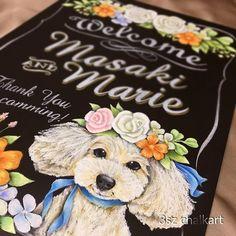 Happy Wedding .もふもふ入りのウェディングボード✨式にペットは連れて行けないのでボードに入れる方増えてますブーケに合わせた花と色合いでデザインしました✍ . #illustration #ペット#ペット似顔絵 #chalkart #blackboard #blackboardart #Wedding #bridal #プレ花嫁#結婚式準備 #ウェルカムボード #チョークアート #黒板 #黒板アート #ウェルカムスペース #ブライダル #ウェディング#プードル #poodle##welcomeboard #artwork #受注製作#handmade