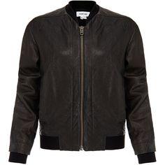 Helmut Lang Black Leather Bomber Jacket (1.685 BRL) ❤ liked on Polyvore featuring outerwear, jackets, black, motorcycle jacket, genuine leather biker jacket, leather rider jacket, rider jacket and moto jacket
