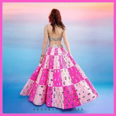 Pink Block Patterned Akanksha Gajria Lehenga dresses to wear to a wedding gowns celebrity Where To Shop Multi Colour Lehengas From? Indian Wedding Gowns, Desi Wedding Dresses, Celebrity Wedding Dresses, Indian Skirt, Dress Indian Style, Lehnga Dress, Lehenga Blouse, Choli Designs, Lehenga Designs