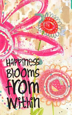 Happy Art, Happy Home decor, Inspirational Art, art print on wood, flower art, happiness, happy, Jennifer McCully on Etsy, $20.00