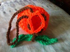 Orange Crochet Soap Bag