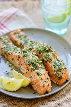 Garlic Herb Roasted Salmon - best roasted salmon recipe ever! Made with butter, garlic, herb, lemon and dinner is ready in 20 mins | rasamalaysia.com