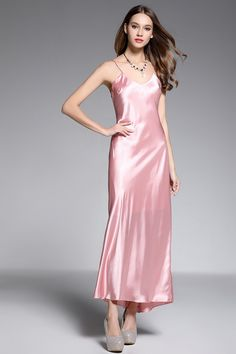 Shop affordable a-line v-neck ankle-length silk pink evening dress online. Occasion dresses with free shipping.